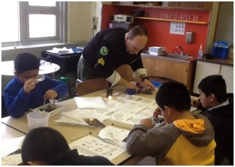 PS 57 students identify macroinvertebrates from their samples.