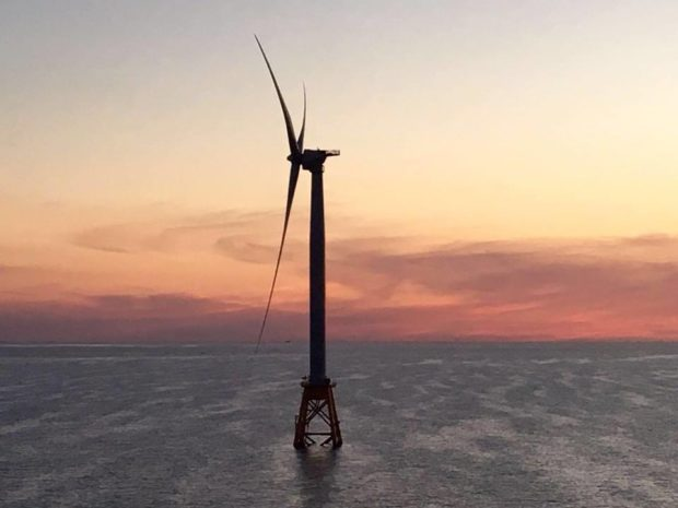 America's first offshore wind turbine, Block Island Wind Farm. Photo by Deepwater Wind